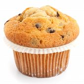 Single light chocolate chip muffin in wax liner