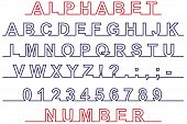 Font And Number On Line