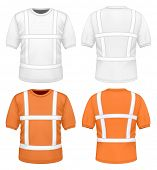 Men white and orange reflective t-shirt (front and back views). vector illustration.