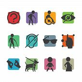 Vector Colorful Icon Set Of Access Signs For Physically Disabled People