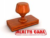 Rubber Stamp health care  (clipping path included)