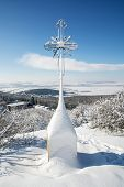Snowy Christian Cross In Outdoors