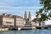 View Of Grossmunster Church In Zurich Old Town