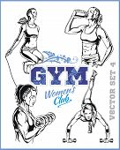 Womens Fitness GYM - vector stock