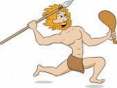 Caveman Hunting With Spear And Mace