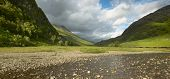 Scottish Landscape With Valley, Mountains And River