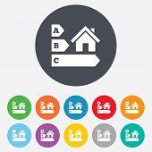 Energy efficiency icon. House building symbol