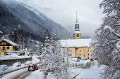 Church in Chamonix town in winter