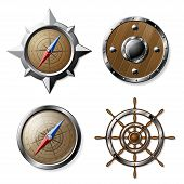 stock photo of compasses  - Set of Steel and Wooden Nautical elements isolated on white  - JPG