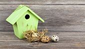 Quail Eggs With Birdhouse On Wooden Background