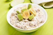 Oatmeal Porridge With Apples And Bananas
