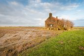 stock photo of neglect  - Abandoned and neglected small building in a wet clay field with corn stubble - JPG