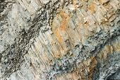 image of crimea  - The complicated structure of volcanic rock at Cape Fiolent in Crimea - JPG