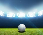 image of cricket ball  - A cricket stadium with a white leather cricket ball on an unmarked green grass pitch at night under illuminated floodlights - JPG
