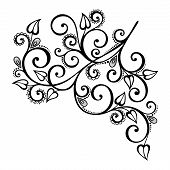 Beautiful Decorative Branch with Flowers (Vector)