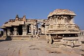 Stone Chariot and Ruins of Temple Hampi India
