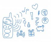 Cloud of cell phone communication line icons