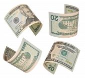 pic of twenty dollars  - Set of flying twenty dollars bills isolated on white background - JPG