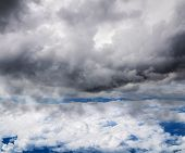 Look At The Clouds And The Sky At An Altitude Of Aircraft Flight