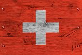 Switzerland National Flag Painted Old Oak Wood Fastened