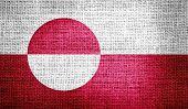 Greenland flag on burlap fabric