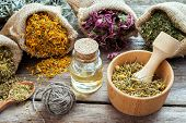 foto of chamomile  - Healing herbs in hessian bags mortar with chamomile and essential oil on wooden table herbal medicine - JPG