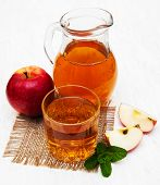 picture of cider apples  - Glass of apple juice and fresh red apple - JPG