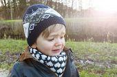 Beautiful Boy Crying Outdoors