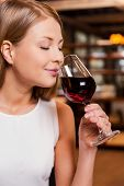 Enjoying The Best Wine In Restaurant.