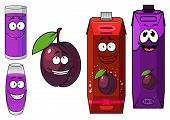 Cartoon plum with drinks containers