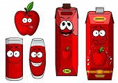 Cartoon apple with apple juice in containers