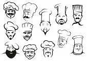 European, american and asian chefs in toques