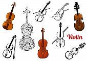 Violin music instruments set