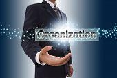 Businessman hand showing organization button