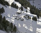 Swiss Alpine Slope Aerial View