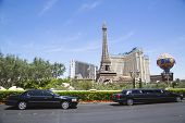 Stretch limousines in the front of Paris Hotel & Casino