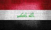 pic of rebel flag  - Grunge of Iraq flag on burlap fabric - JPG