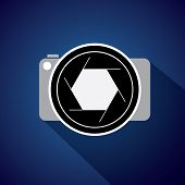 Digital Camera With Large Lens & Shutter - Concept Vector Icon