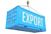 Export, Blue Cargo Container Hoisted With Hook On White Background