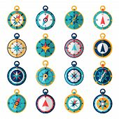 stock photo of orientation  - Navigational compass sailing orientation instrument icon flat set isolated vector illustration - JPG