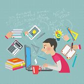 picture of mathematics  - Student at notebook computer with mathematics symbols and formula on the background vector illustration - JPG