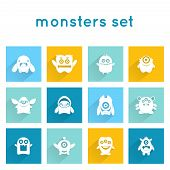picture of emoticons  - Monster icons funny mutant animal creature emoticons set isolated vector illustration - JPG