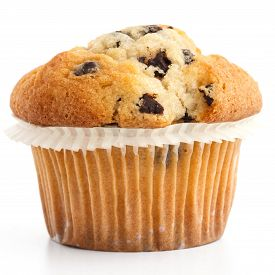 stock photo of chocolate muffin  - Single light chocolate chip muffin in wax liner on white - JPG