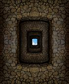 foto of dungeon  - Dungeon with stone walls and hard - JPG