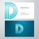 stock photo of letter d  - Design icon letter D Business card template - JPG