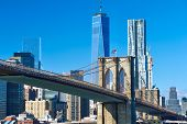 picture of brooklyn bridge  - Lower Manhattan skyline and Brooklyn bridge in New York City - JPG