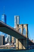 image of brooklyn bridge  - Lower Manhattan skyline and Brooklyn bridge in New York City - JPG