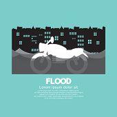 image of flood  - Motorcycle In A Flood Vector Illustration - JPG