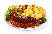 stock photo of roast duck  - Roast duck fillet and vegetables  - JPG