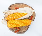 image of corn-silk  - Dry brown corn and mini tomato - JPG